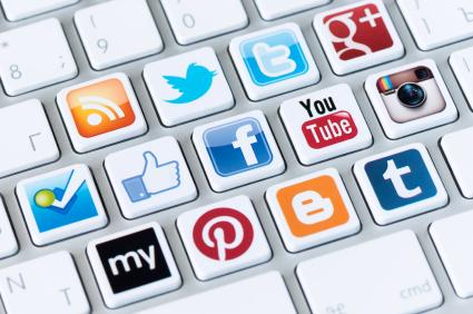 graphic of keyboard with social media