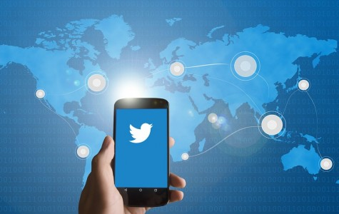 Twitter logo and map