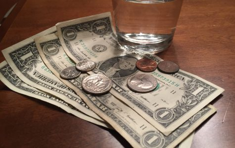 Money and a glass of water