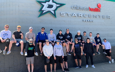 Photo used from Marian's ACHA DII Twitter page: The men gather at Star Center Ice Hockey Arena in Plano, Texas following their Nationals practice on Thursday, March 21st.