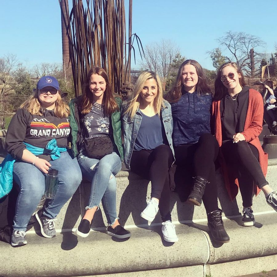 Group of Honors Program students (left to right) Allie Percy, Emily Salm, Brenda Ordoñez, Sarah Mereness, and Emma Lewandowski at the Lincoln Park Zoo.