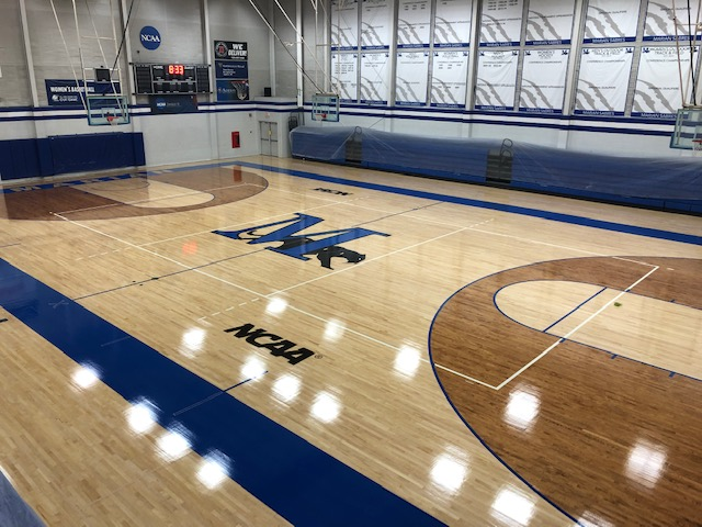 The newly renovated Sadoff Gymnasium floor.