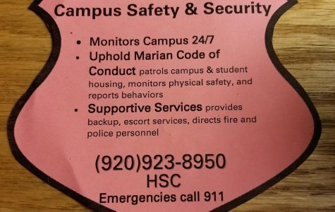 Campus safety and security informational flyer.