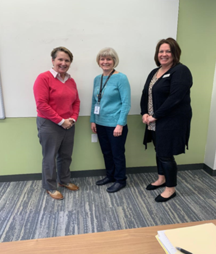 From left to right: Vice President for Student Life & Dean of Students Kate Candee, RN & BSN Public Health Nurse Director Joyce Mann, and Marian RN Jodi Schrauth